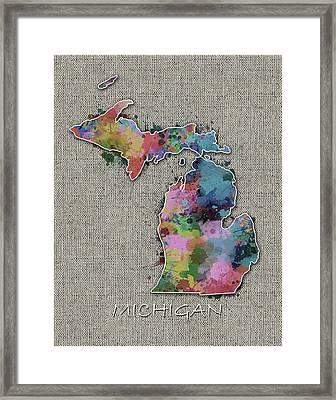 Michigan Map Color Splatter 5 Framed Print