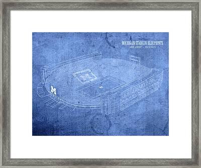 Michigan Stadium Wolverines Ann Arbor Football Field Big House Blueprints Framed Print
