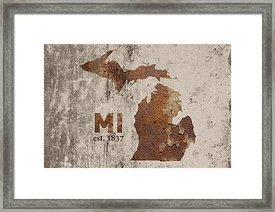 Michigan State Map Industrial Rusted Metal On Cement Wall With Founding Date Series 005 Framed Print by Design Turnpike
