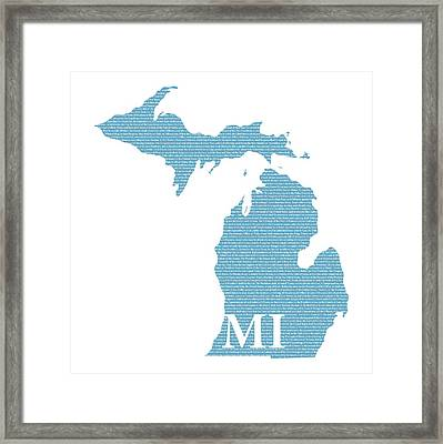 Michigan State Map With Text Of Constitution Framed Print