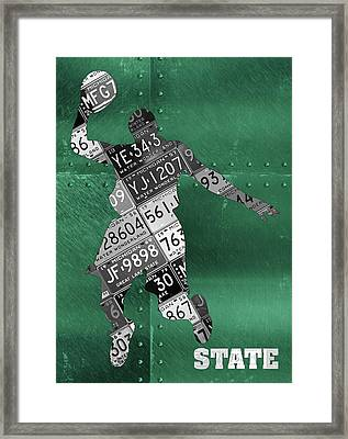 Michigan State Spartans Basketball Player Recycled Michigan License Plate Art Framed Print
