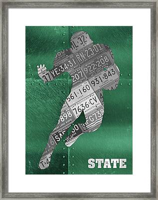 Michigan State Spartans Running Back Recycled Michigan License Plate Art Framed Print