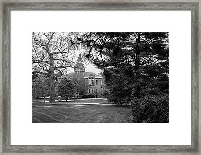 Michigan State University Campus Black And White  Framed Print