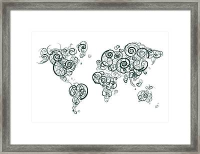 Michigan State University Colors Swirl Map Of The World Atlas Framed Print by Jurq Studio