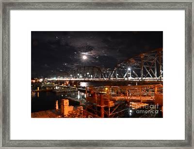 Michigan Street Bridge After Dark Framed Print by Mark David Zahn