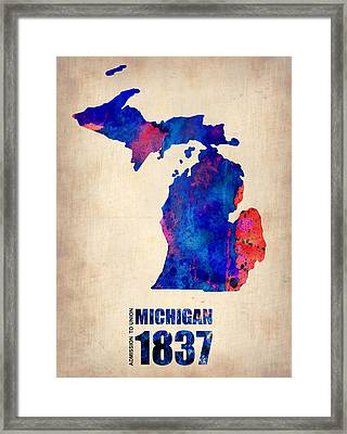 Michigan Watercolor Map Framed Print by Naxart Studio