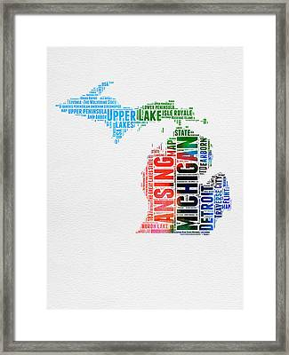 Michigan Watercolor Word Cloud Framed Print by Naxart Studio