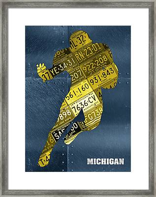 Michigan Wolverines Running Back Recycled Michigan License Plate Art Framed Print