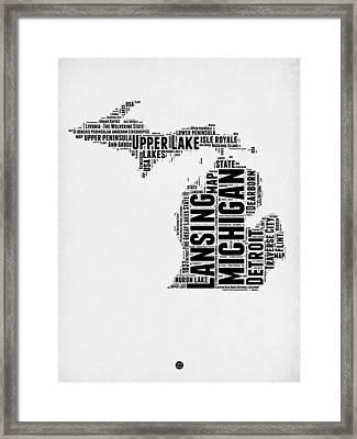 Michigan Word Cloud Map 2 Framed Print