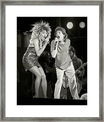 Mick And Tina At Live Aid 1985 Framed Print