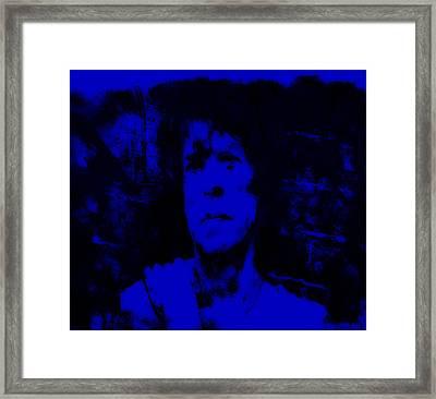 Mick Jagger Blue Framed Print