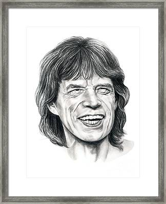 Mick Jagger Framed Print by Murphy Elliott