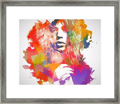 Mick Jagger Watercolor Framed Print
