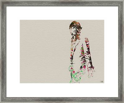 Mick Jagger Watercolor Framed Print by Naxart Studio