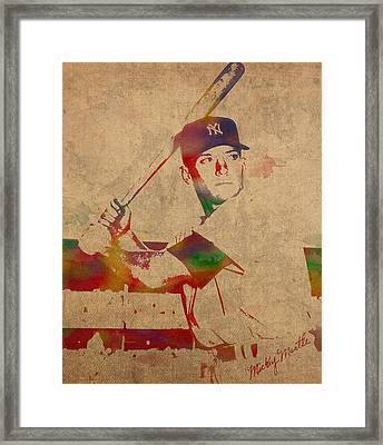 Mickey Mantle New York Yankees Baseball Player Watercolor Portrait On Distressed Worn Canvas Framed Print