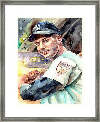 Mickey Mantle Watercolor Framed Print