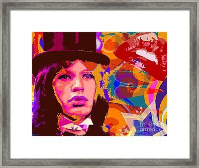 Mick Jagger Flying Circus Framed Print by Michael Eddington