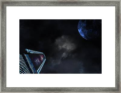 Micro Chips In Outer Space On The Way To Planets Framed Print by Christian Lagereek