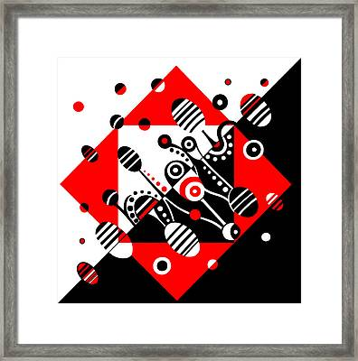 Microgravity - Red And Black Framed Print by Deyana Deco