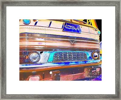Mid Century Gm Greyhound Bus Front Grill Abstract Framed Print by Scott D Van Osdol