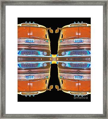 Mid Century Gm Greyhound Bus - Mirrored Abstract Framed Print by Scott D Van Osdol