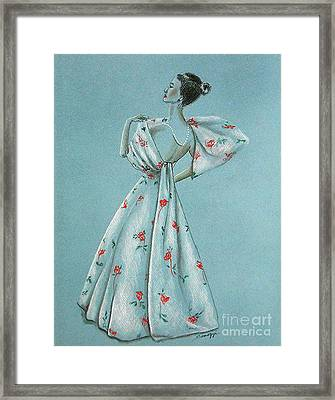 Mid-century Mode -- Drawing Of 1950's Fashion Framed Print
