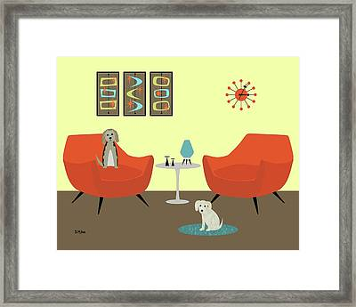 Framed Print featuring the digital art Mid Century Modern Dogs 1 by Donna Mibus