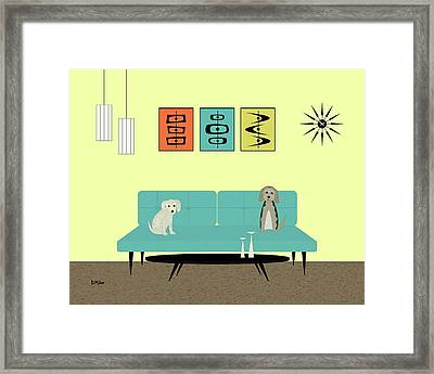 Framed Print featuring the digital art Mid Century Modern Dogs 2 by Donna Mibus
