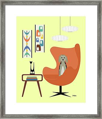 Framed Print featuring the digital art Mid Century Modern Dogs 3 by Donna Mibus