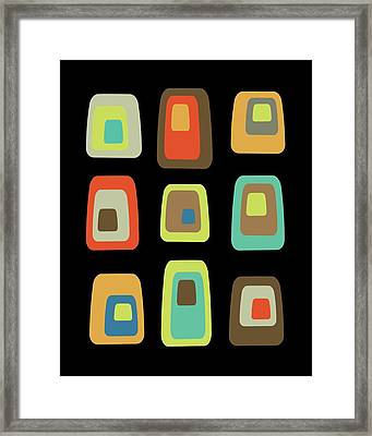 Framed Print featuring the digital art Mid Century Modern Oblongs On Black by Donna Mibus