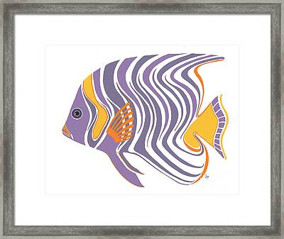Mid Century Purple Fish Framed Print