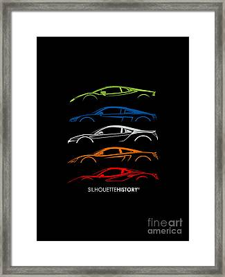 Mid-engine Sports Cars Silhouettehistory Framed Print by Gabor VIda