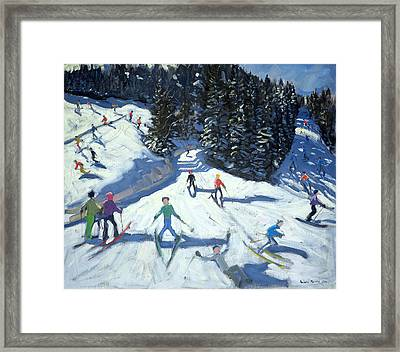 Mid-morning On The Piste Framed Print by Andrew Macara