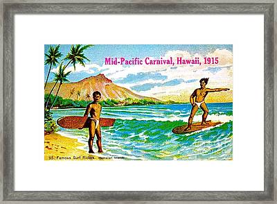 Framed Print featuring the painting Mid Pacific Carnival Hawaii Surfing 1915 by Peter Gumaer Ogden