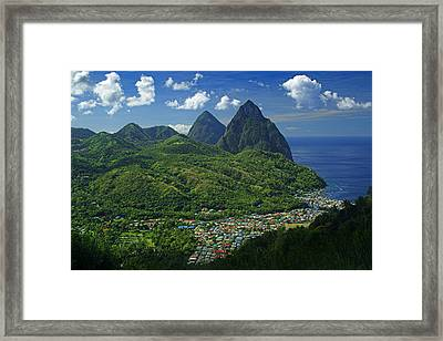 Midday- Pitons- St Lucia Framed Print