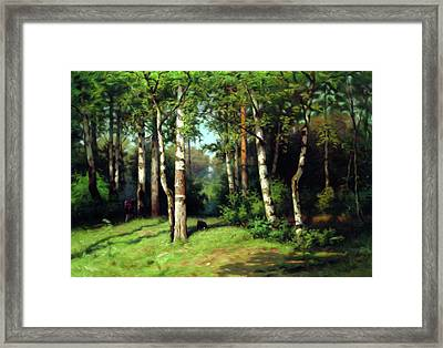 Midday Warmth In A Forest Impressionism Framed Print by Georgiana Romanovna