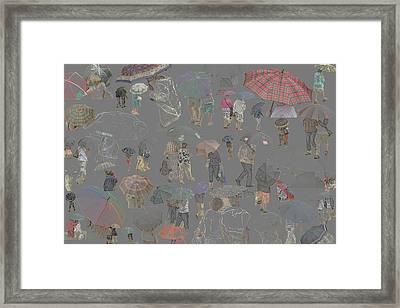 Middelkerke Umbrellas Framed Print by Dominique De Leeuw