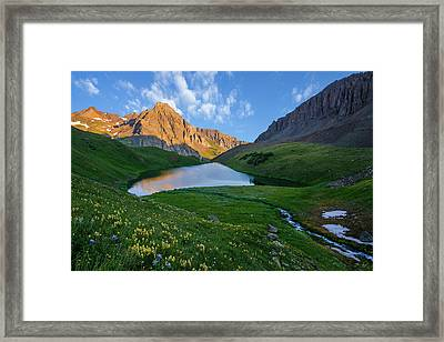 Framed Print featuring the photograph Middle Blue Lake Sunrise by Aaron Spong