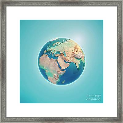 Middle East 3d Render Planet Earth Framed Print by Frank Ramspott