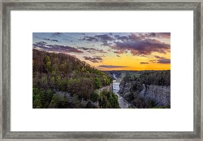 Middle Falls Sunset Framed Print by Mark Papke