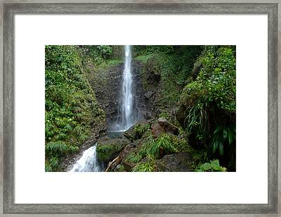 Middleham Waterfall In Dominica Framed Print by Tropical Ties Dominica