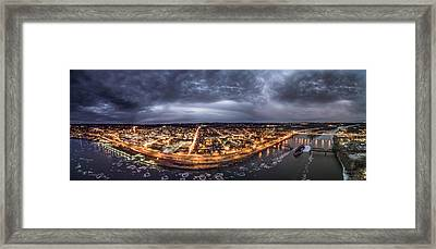 Middletown Connecticut, Twilight Panorama Framed Print