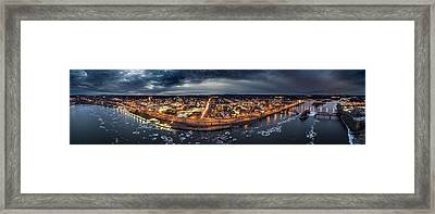 Middletown Ct, Twilight Panorama Framed Print