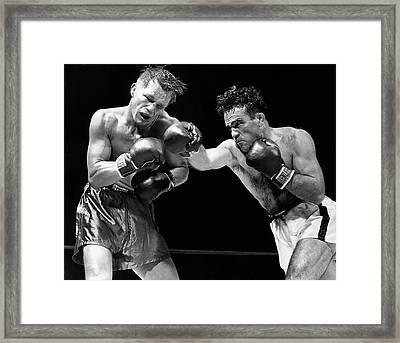 Middleweight Title -  Cerdan Vs Zale  1948 Framed Print by Daniel Hagerman