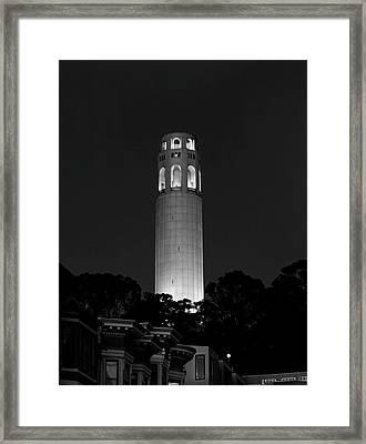 Midnight At Coit Tower - San Francisco Framed Print by Daniel Hagerman