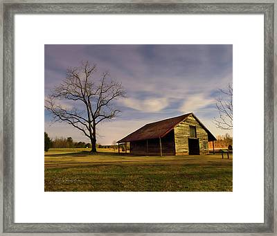Midnight At The Mule Barn Framed Print