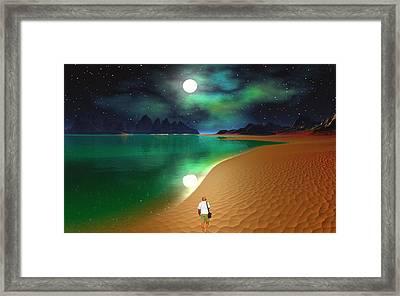 Midnight Beach Walk - Sea Of Cortezz Framed Print by David Jackson