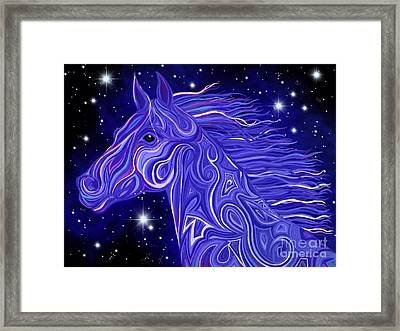 Framed Print featuring the drawing Midnight Blue Mustang by Nick Gustafson