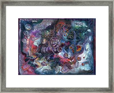 Midnight Dancing Bubbles Framed Print