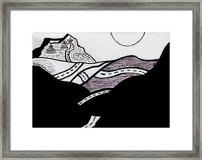 Midnight Drive Black Ink On White Canvas By Ricardos Framed Print by Ricardos Creations